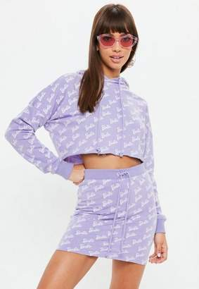 Missguided Barbie x Lilac Logo Print Cropped Hoodie