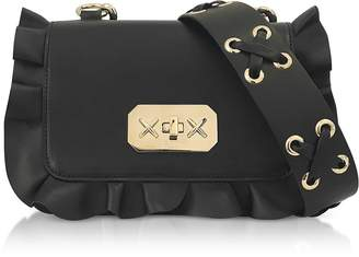 RED Valentino Black Studded Leather Ruffle Small Shoulder Bag