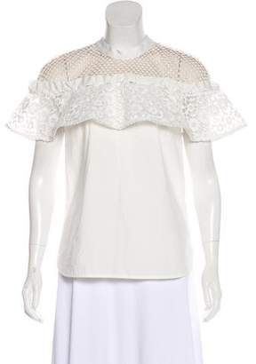 Self-Portrait Lace-Accented Short Sleeve Top w/ Tags