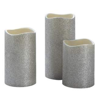 Smart Living Company SILVER GLITTER LED CANDLE SET OF 3