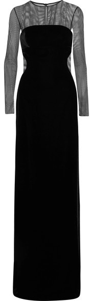 TOM FORD - Convertible Cutout Velvet And Tulle Gown - Black