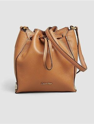 Calvin Klein Calvin Klein Womens Keyla Leather Bucket Bag Caramel