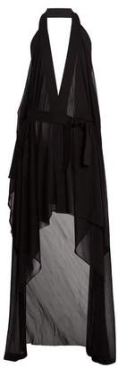 Balmain Draped Halterneck Stretch Knit Wrap Dress - Womens - Black