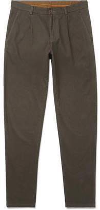 Aspesi Slim-Fit Herringbone Cotton-Blend Trousers