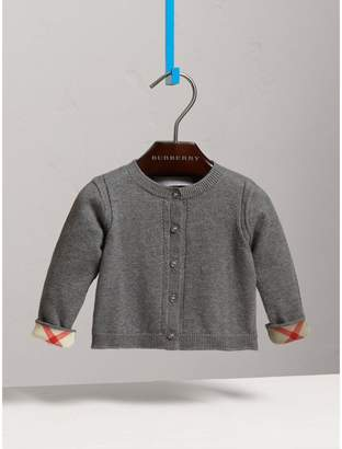 Burberry Check Cuff Cotton Cardigan