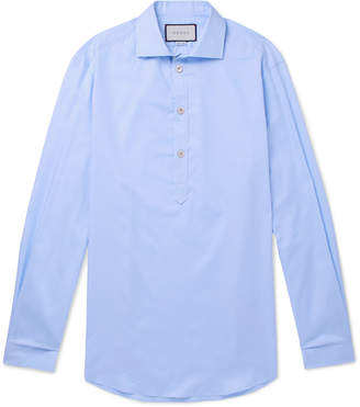 Gucci Oversized Grandad-Collar Cotton-Poplin Half-Placket Shirt