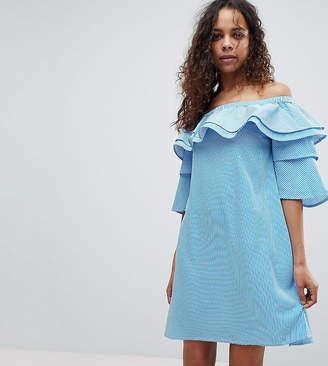 White Cove Petite Off Shoulder Boned Mini Dress With Volumnious Ruffle Sleeve Detail