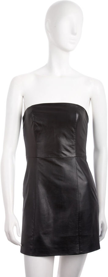 Mason by Michelle Mason Strapless Leather Minidress - Black