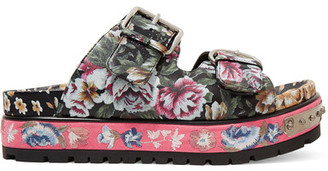 Alexander McQueen - Floral-print Leather Sandals - Pink $1,140 thestylecure.com