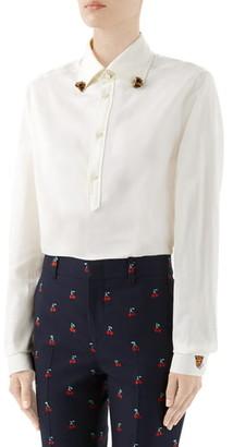 Gucci Ram Button-Down Collar Cotton Shirt