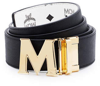 MCM Reversible Visetos Saffiano Leather Belt