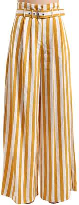 Maison Margiela Striped Viscose Twill Wide Leg Pants