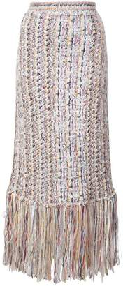 ADAM by Adam Lippes fringed tweed midi skirt