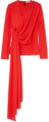 SemSem - Asymmetric Draped Crepe De Chine Blouse - Red