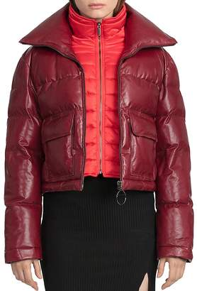 BAGATELLE.CITY Quilted Leather Puffer Coat with Bib Warmer