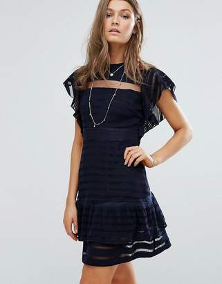 Foxiedox Ruffle Sleeve Mini Dress