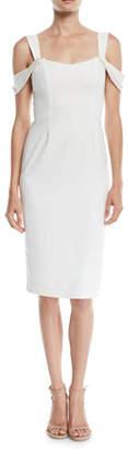 Halston Slim Crepe Cold-Shoulder Cocktail Dress