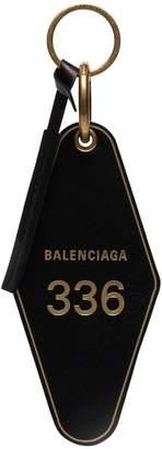 Balenciaga black hotel leather keyring