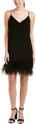 Lavender Brown Feather Silk Shift Dress