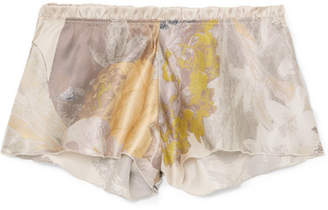 Carine Gilson Flottant Floral-print Silk-satin Shorts - Blush