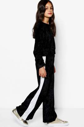 boohoo Girls Wide Leg Valour Side Stripe Trouser