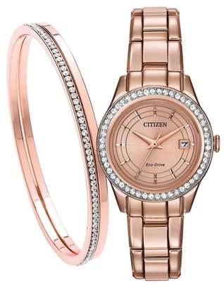 Citizen Ladies Rose Gold Bracelet Watch And Bangle Fe1123-51Q Set