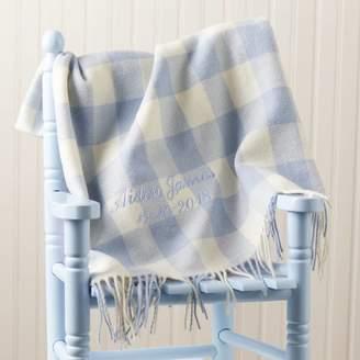 BabyFish Personalised Blue Lambswool Baby Blanket