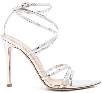 Gianvito Rossi Metallic Leather Kim Cross Strap Sandals