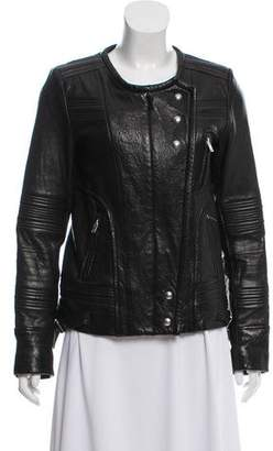 IRO Collarless Leather Jacket