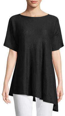 Eileen Fisher Short-Sleeve Asymmetric Linen Top
