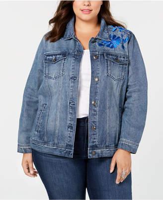 Seven7 Jeans Trendy Plus Size Embroidered-Floral Denim Jacket
