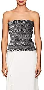 Area Women's Dev Ruched Cotton-Blend Lamé Tube Top - Silver