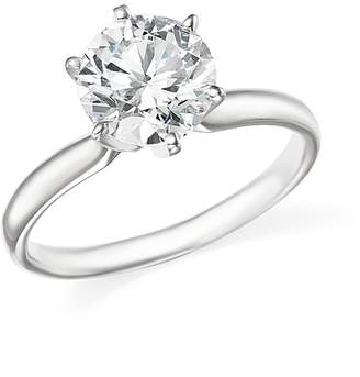 Bloomingdale's Certified Diamond Round Brilliant Cut Solitaire Ring in 18K White Gold, 2.0 ct. t.w. - 100% Exclusive