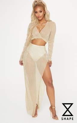 PrettyLittleThing Shape Gold Metallic Pleated Split Leg Maxi Skirt