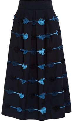 Lela Rose - Embroidered Cotton-poplin Midi Skirt - Midnight blue $1,495 thestylecure.com