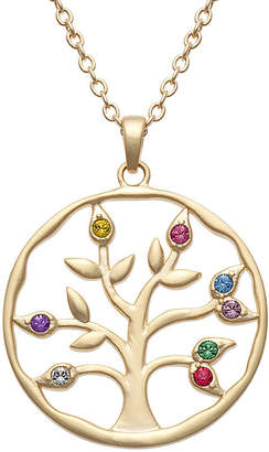 FINE JEWELRY Personalized Womens Multi Color Crystal 14K Gold Over Brass Pendant Necklace