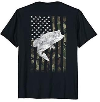 Camouflage Flag Bass Fishing Angler Shirt (on Back)