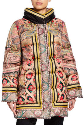 Etro Long Floral Puffer Jacket
