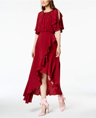 Marella Maracas Ruffled Cold-Shoulder Dress