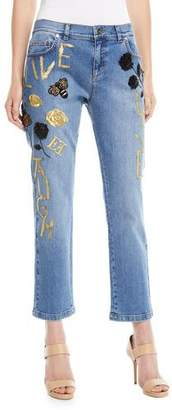 Escada Love Live Laugh Straight-Leg Cropped Jeans