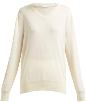 The Row Maley V Neck Cashmere Sweater - Womens - Ivory