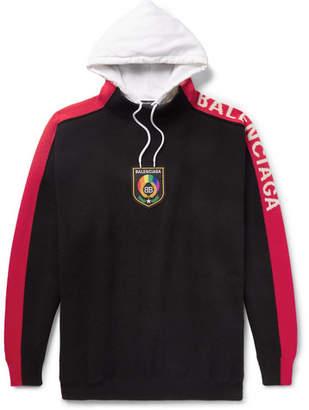 Balenciaga Oversized Appliquéd Logo-Jacquard Wool And Cotton-Jersey Hoodie