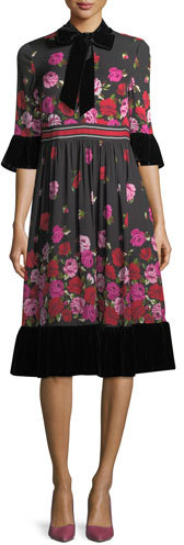 Kate Spade New York Dru Bell-Sleeve Tie-Neck Scattered Rose Dress