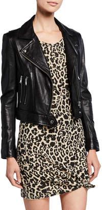 IRO Bapey Cropped Leather Moto Jacket