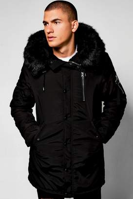 boohoo MA1 Parka with Faux Fur Hood