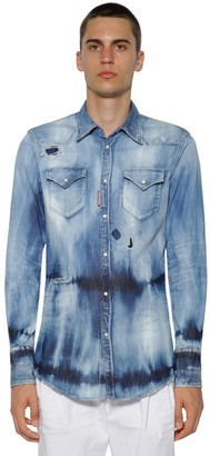 DSQUARED2 Western Bleached Cotton Denim Shirt