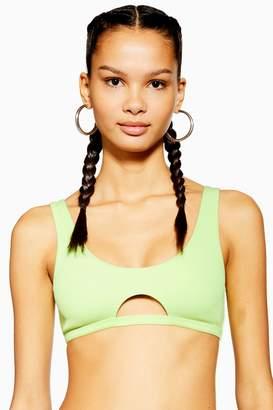 Topshop Womens Neon Ribbed Cut Out Bikini Crop Top - Lime