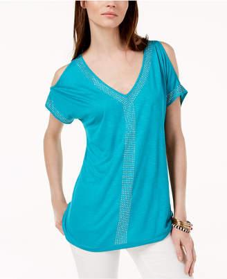 INC International Concepts I.n.c. Petite Embellished Cold-Shoulder Top, Created for Macy's