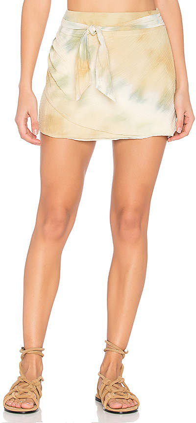 Free People When the Tide Turns Mini Skirt in Yellow