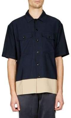 Ami Colorblock Button-Down Shirt